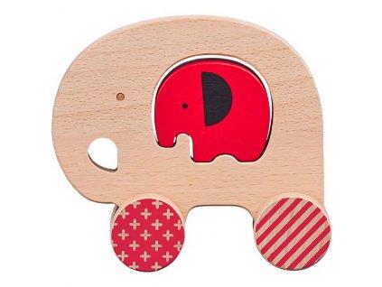 Petit Collage Slon a slůně na kolečkách - poškozený obal
