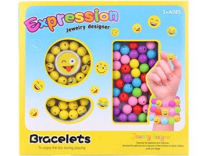 Korálky navlékací barevné smajlík Emoji výroba náramků kreativní set v krabici