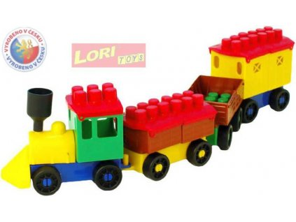 LORI 006 Vláček plastový nákladní menší 3 vagonky stavebnice