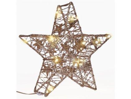 Solight vánoční hvězda glitter, zlatá, kovová, 14x LED, 2x AA