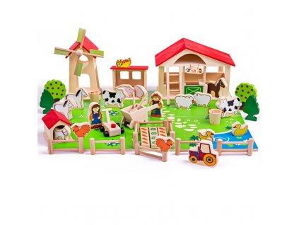 Bigjigs Toys - Velká dřevěná farma - sleva