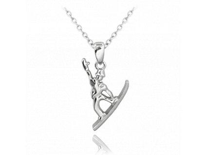 Stříbrný náhrdelník MINET SNOWBOARD