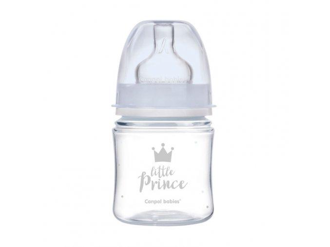 canpol babies lahev se sirokym hrdlem royal baby 120ml modra