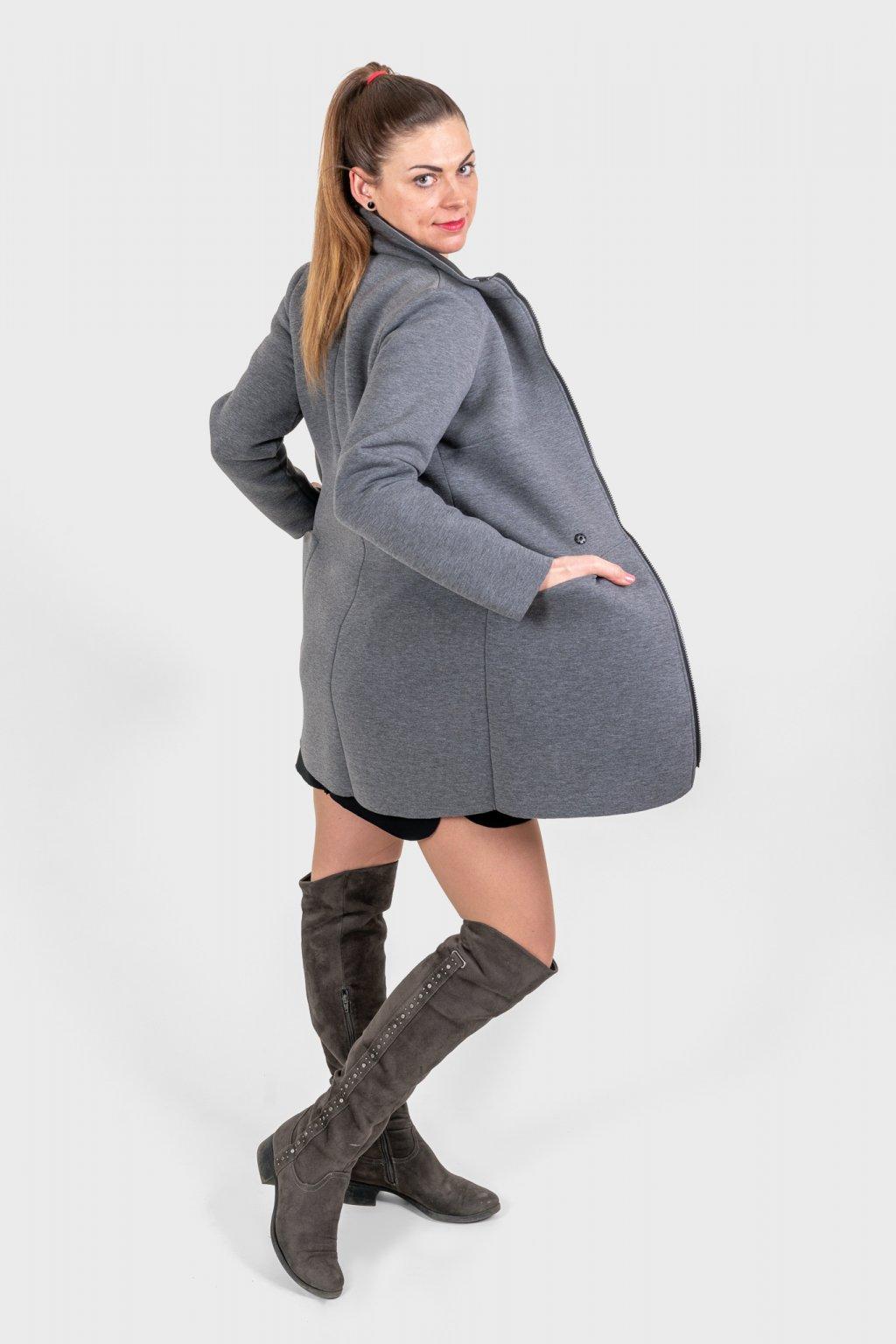 Dámský kabát slim grey šedý neopren s légou Goci