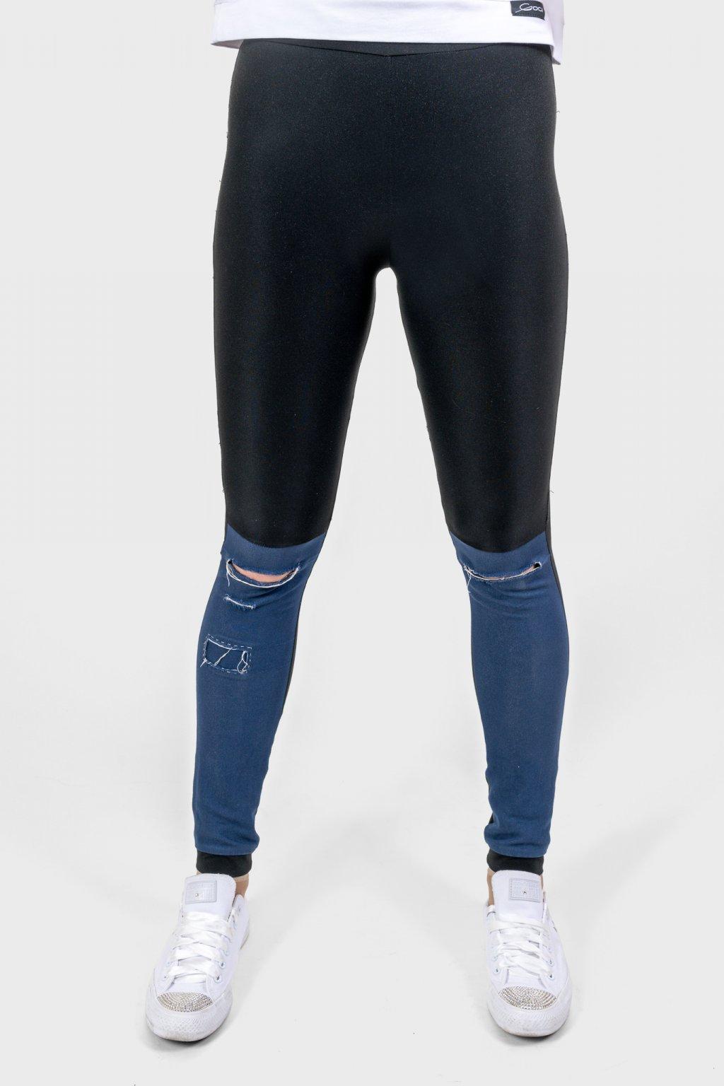 Dámské legíny legs cuts černo modré s prostřihy Goci
