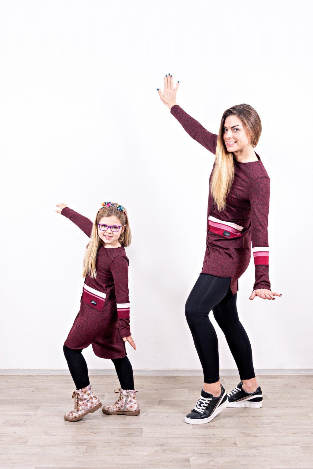 Dámské a dětské šaty clothes bordó máma a dcera dlouhý rukáv zateplené Goci