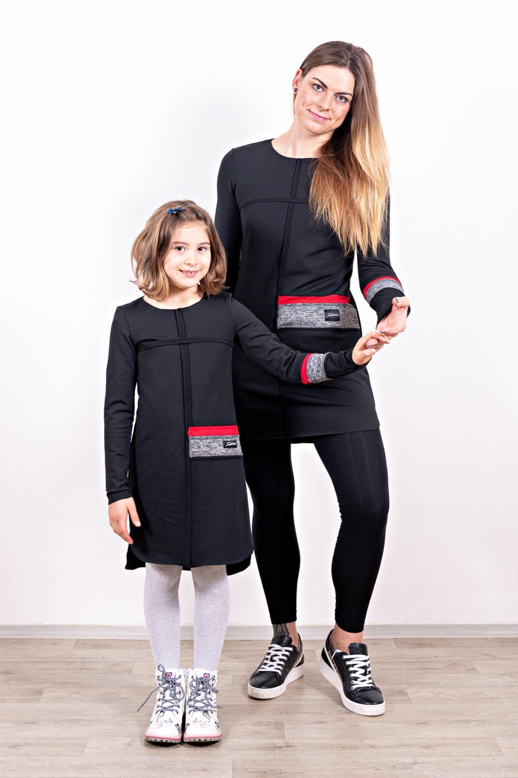Dámské a dětské šaty clothes line black mama a dcera černé dlouhý rukáv zateplené Goci