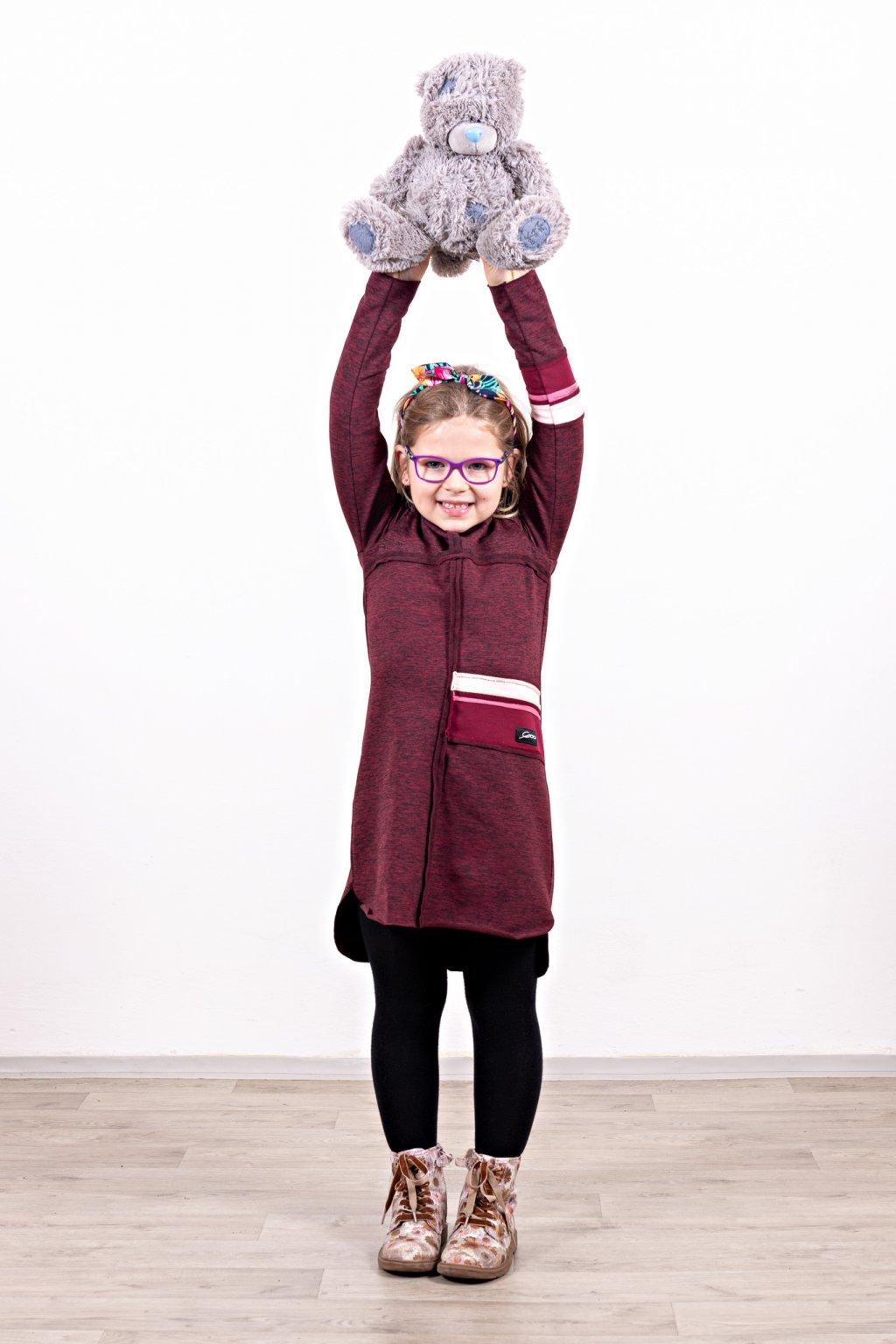 Dětské šaty clothes bordó  dětské dlouhý rukáv zateplené Goci