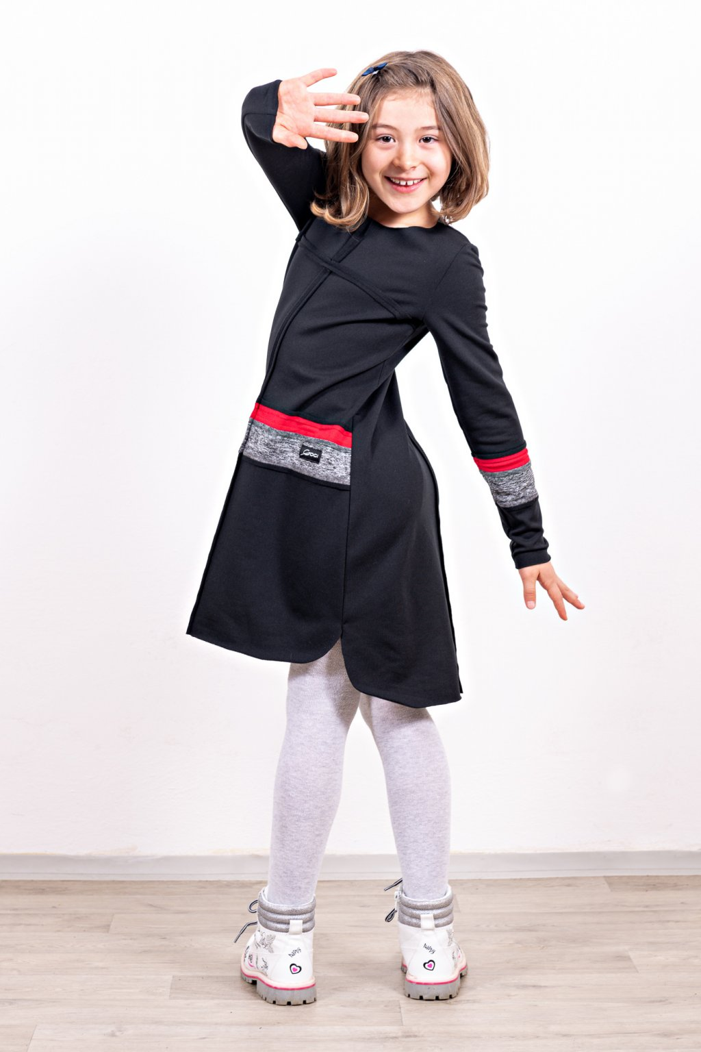 Dětské šaty clothes line black dětské černé dlouhý rukáv zateplené Goci