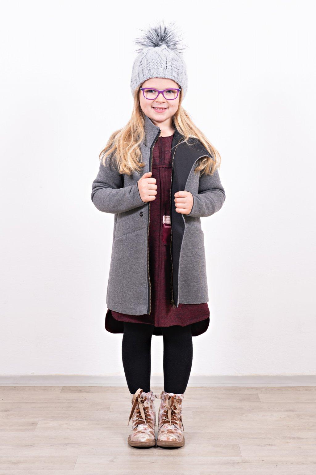 Dětský kabát slim grey šedý neopren s légou Goci