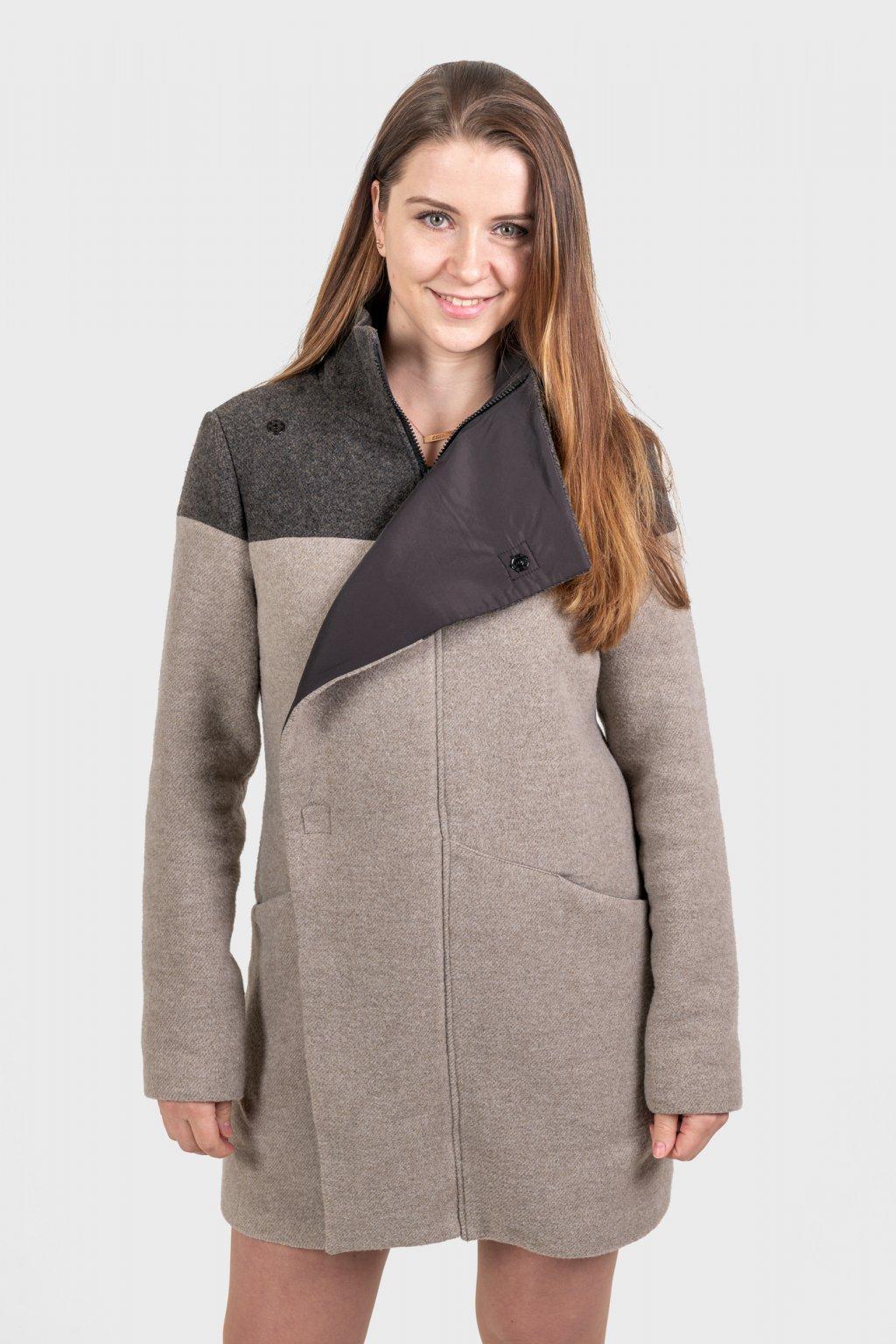 Dámský kabát vlna béžový s podšívkou légou zimní Goci