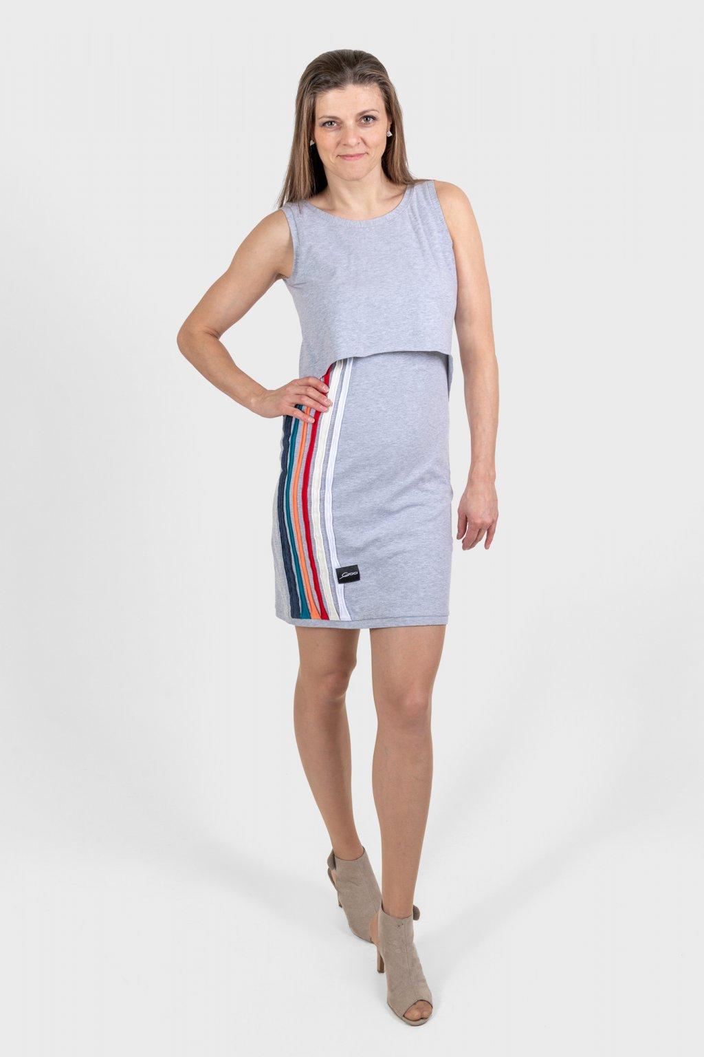 Dámské šaty rainbow šedé na ramínka s barevnými pruhy Goci