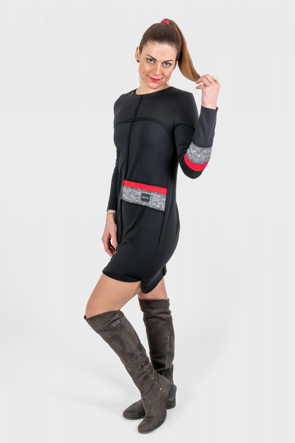 Dámské šaty clothes line black černé dlouhý rukáv zateplené Goci