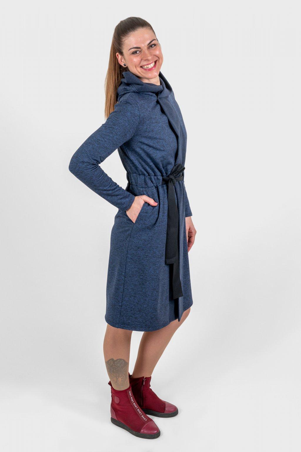 Dámský mikinokabátek modrý dlouhý s kapucí, légou, páskem a dlouhými rukávy s chloupkem Goci