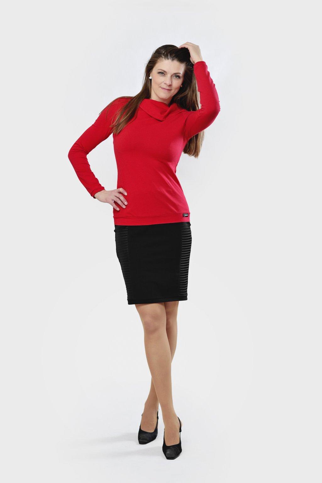 Dámské triko Zůza červená s dlouhým rukávem velký límec z bavlny Goci