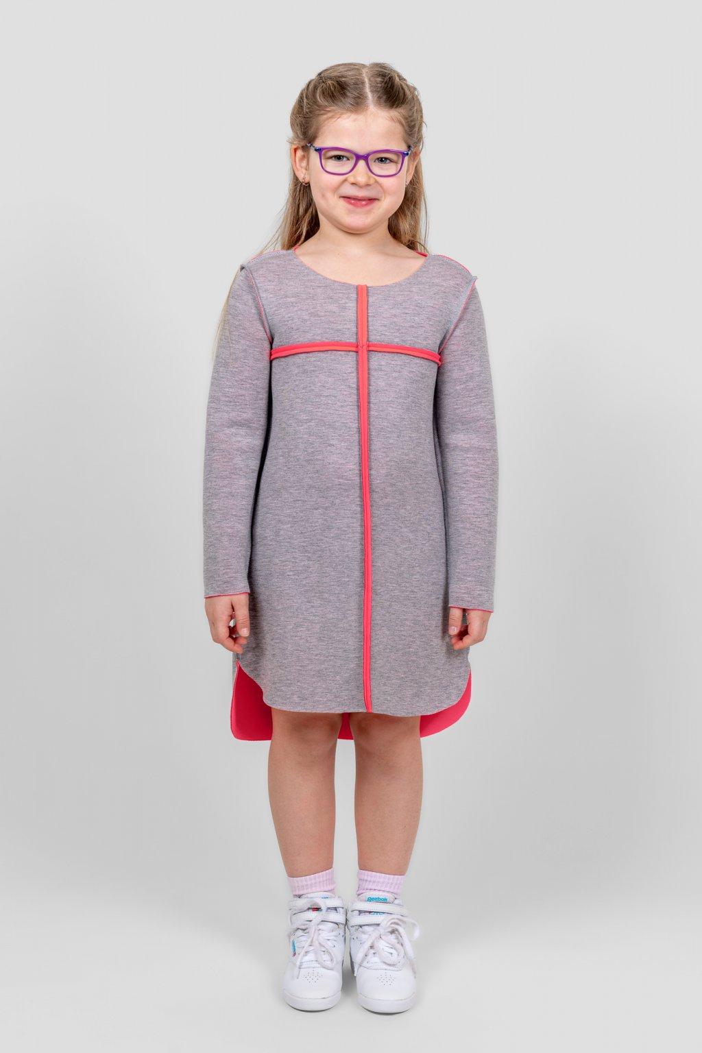 Dětské šaty clothes line scuba dětské šedo růžové dlouhý rukáv Goci