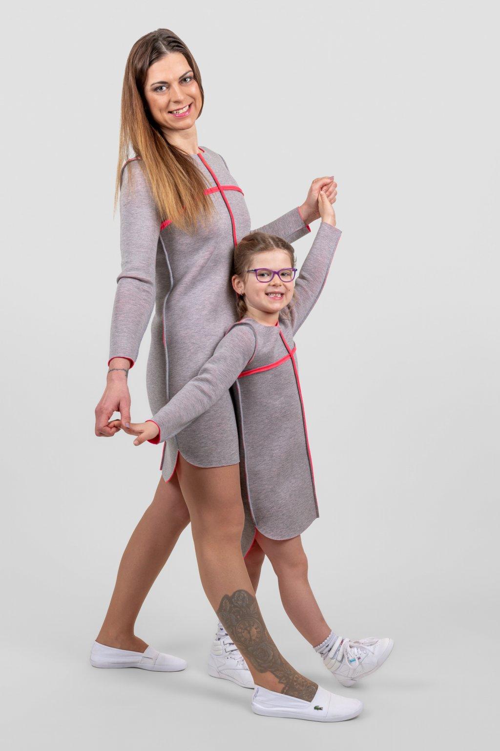 Dámské a dětské šaty clothes line scuba máma a dcera šedo růžové dlouhý rukáv Goci