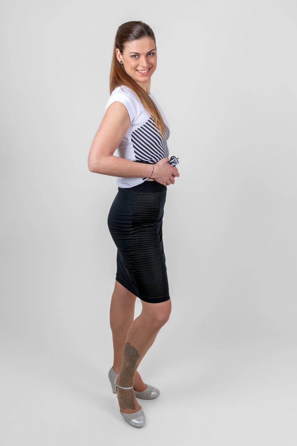 Dámská sukně s plyzé černá pružná Goci