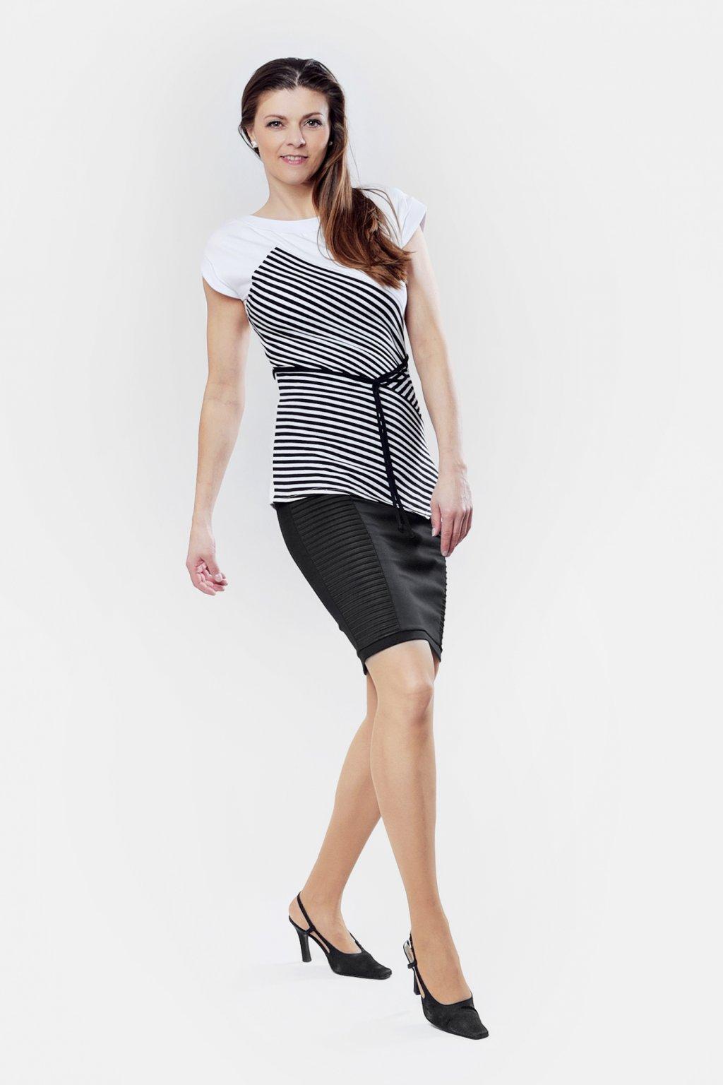 Dámská sukně z plyzé černá pružná dámské triko černo bílé pruhované Goci