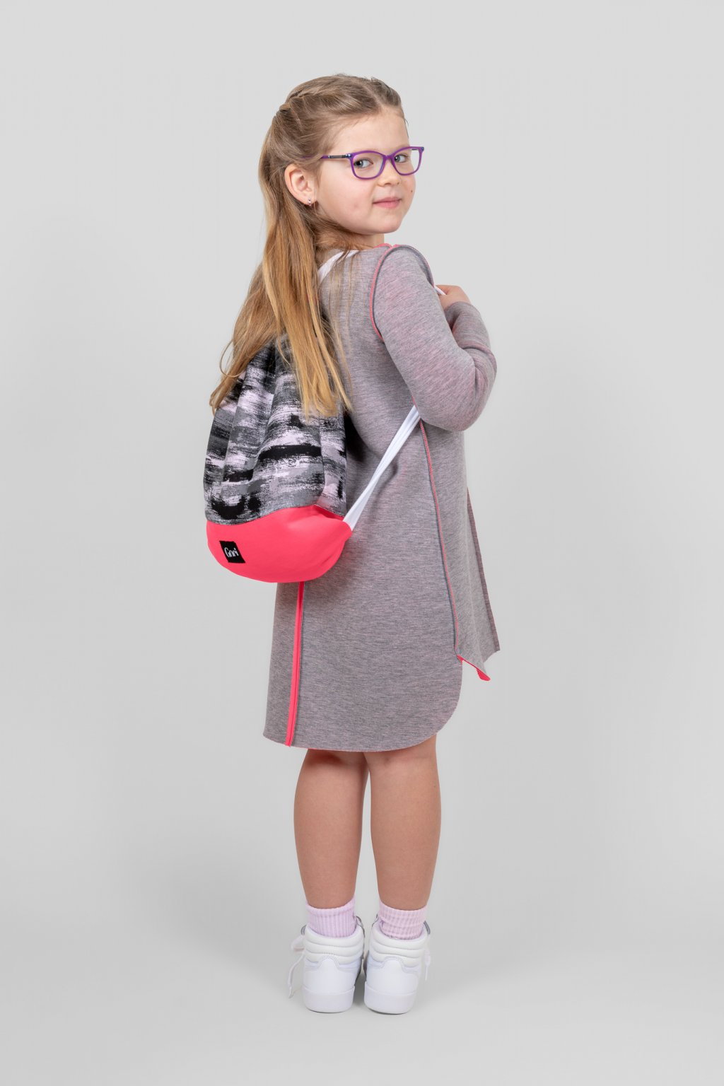 Dětské šaty clothes line scuba dětské šedo růžové dlouhý rukáv batůžek  neonově růžový z bavlny a neoprenu Goci