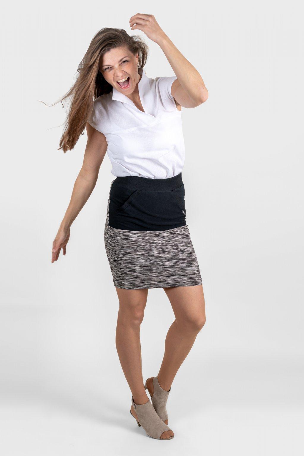 Dámská sukně černo šedá s klokankou dámská košile s asymetrickým límečkem  bílá len Goci