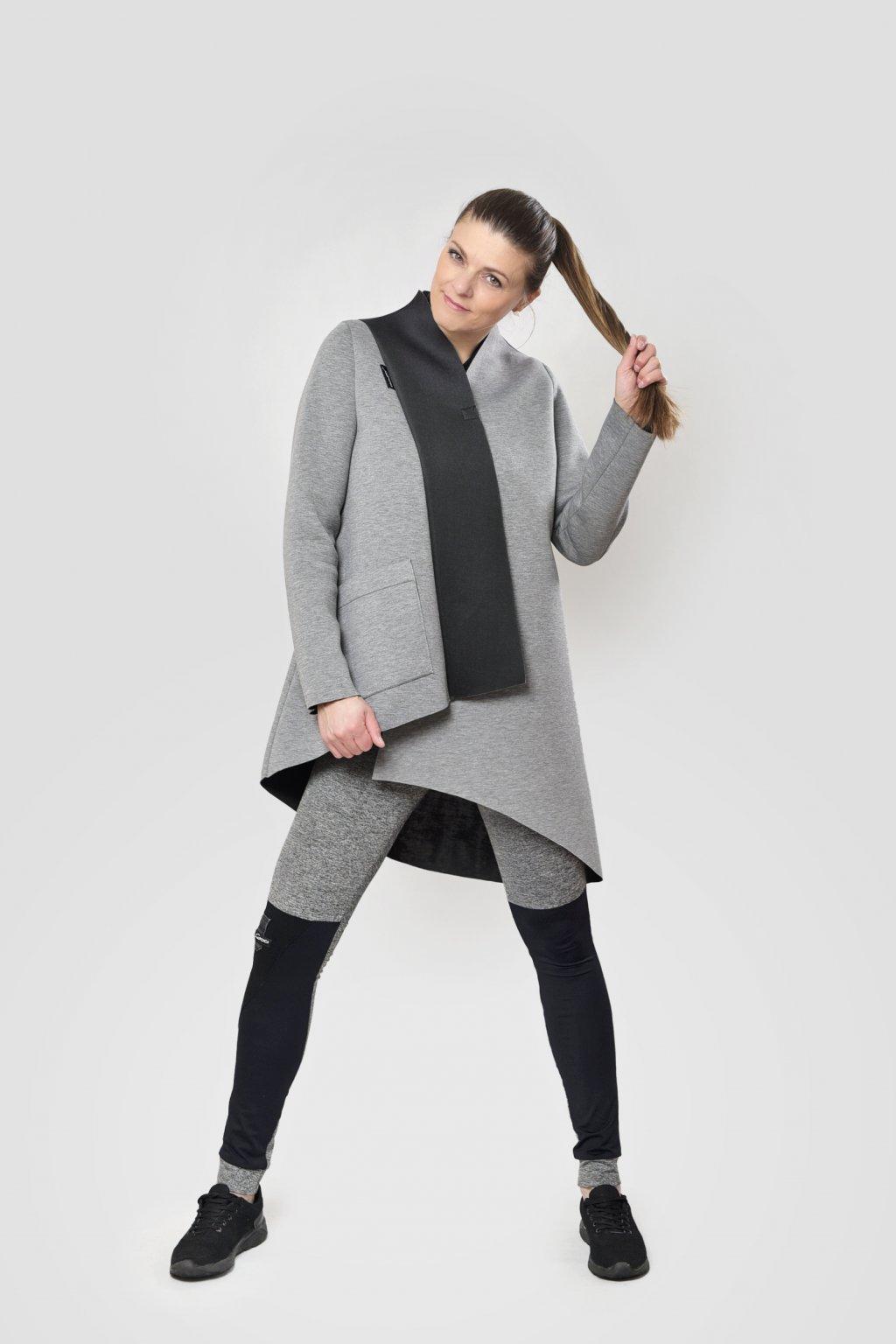 Dámský kabát scuba šedo černý neopren asymetrický Goci