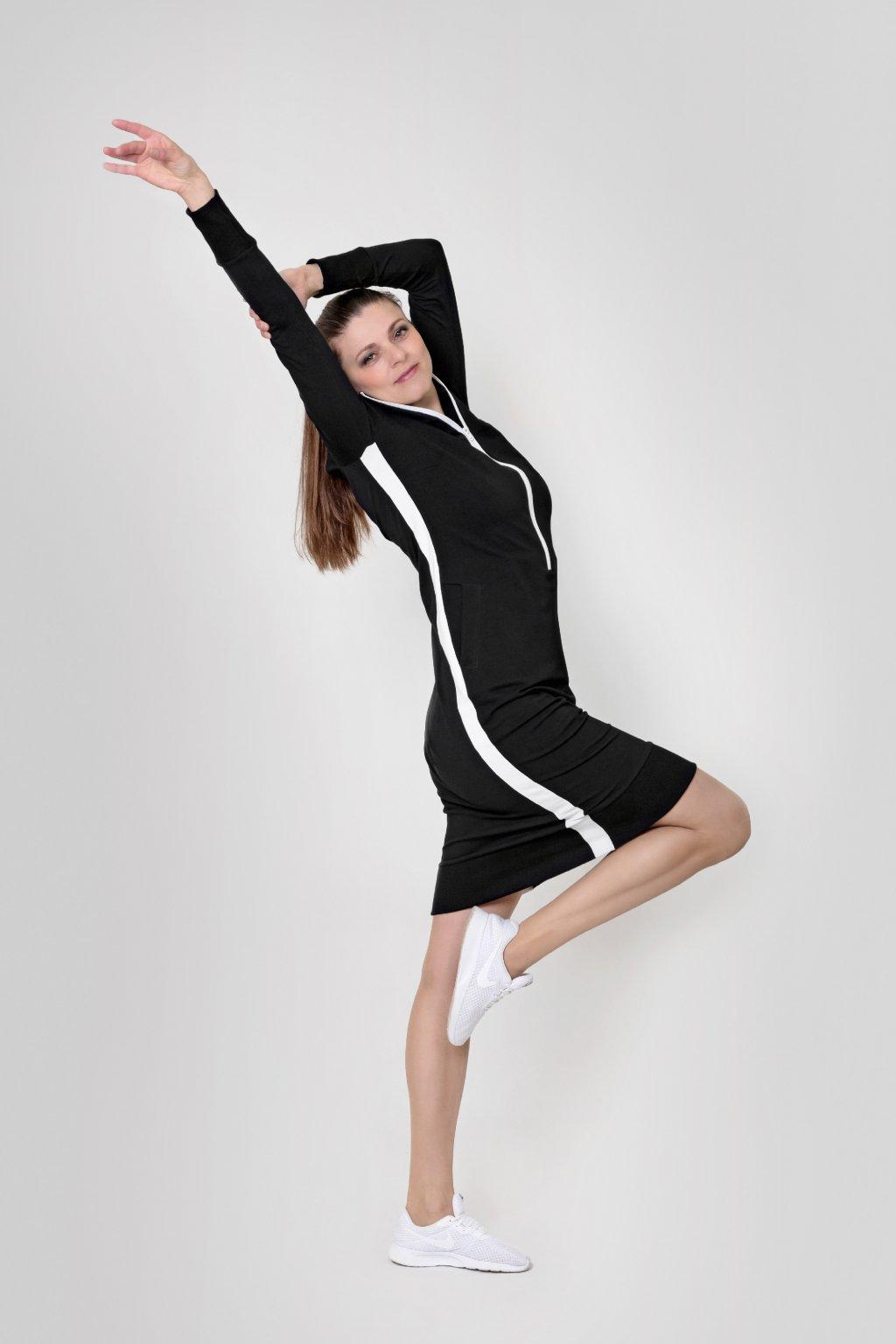 Dámské mikinošaty černé dlouhý rukáv na zip Goci