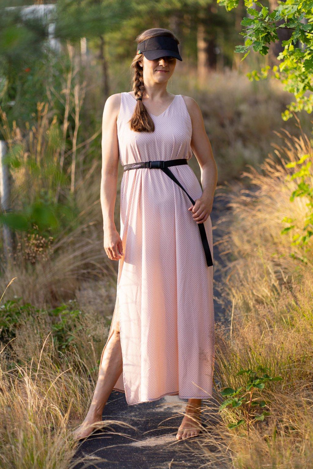 Dámské dlouhé šaty Long lady s rozparky na ramínka hedvábí růžovo šedé Goci