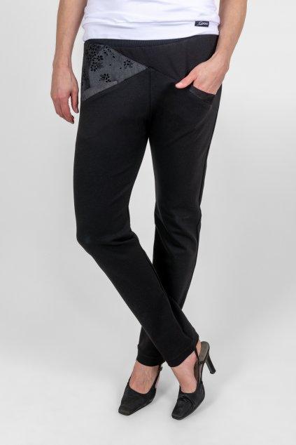 Dámské kalhoty black černé nízký sed s kapsami Goci
