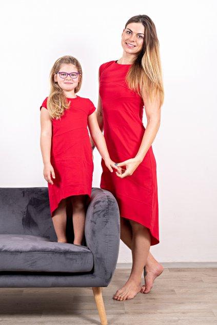 Dámské dětské šaty sešívané máma a dcera červené s krátkým rukávem a kapsami Goci