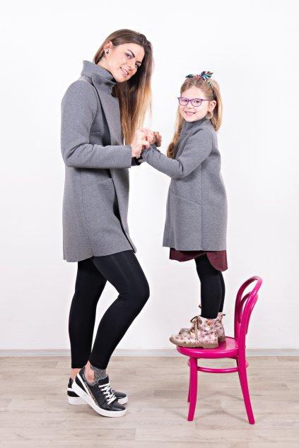 Dámský a dětský kabát slim grey máma a dcera šedý neopren s légou Goci