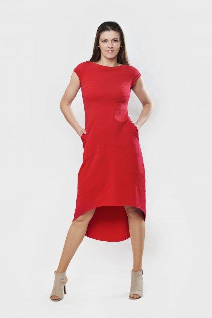 Dámské šaty sešívané červené krátký rukáv s kapsami Goci