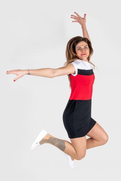 Dámské šaty černo červené s klokankovou kapsou sportovní Goci
