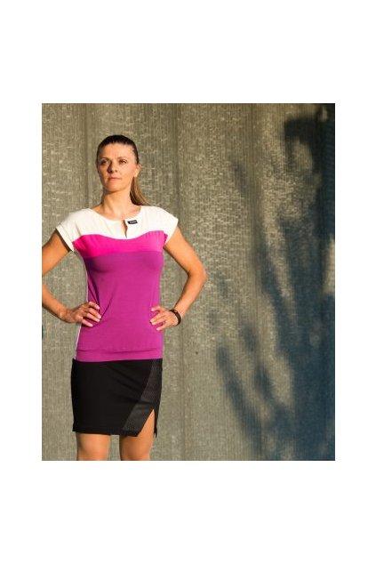 Dámské triko Dunes blue modré béžové s krátkým rukávem dotykový rozparek na výstřihu Goci