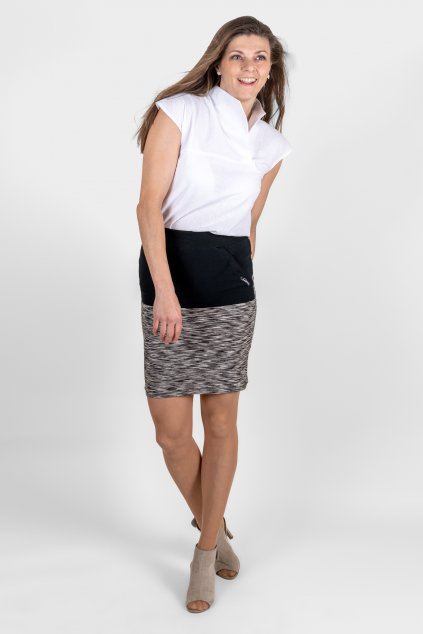 Dámská košile s límečkem lněná bílá asymetrický límec krátký rukáv Goci