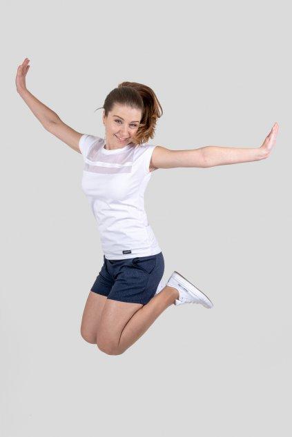 Dámské triko Line bílé s krajkou krátkým rukávem z bavlny Goci