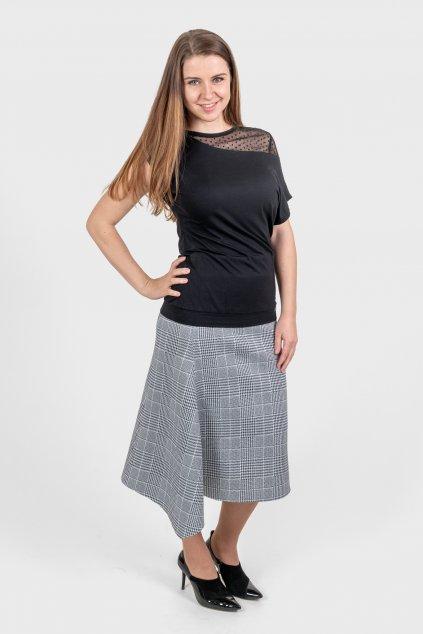 Dámská sukně dlouhá cíp kostkovaná neopren Goci