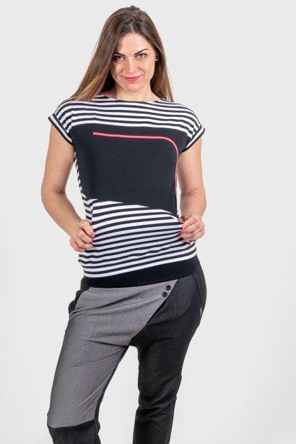 Dámské triko Tina striped černo bílé pruhované krátký rukáv Goci