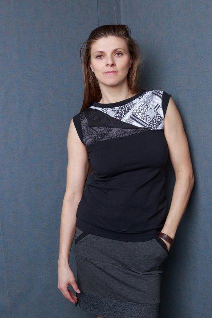 Dámské triko black lace černé krátký rukáv Goci