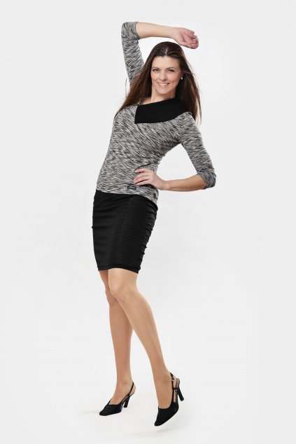 Dámské triko Lusy grey šedé černý límec s 3/4 rukávem asymetrickým výstřihem Goci