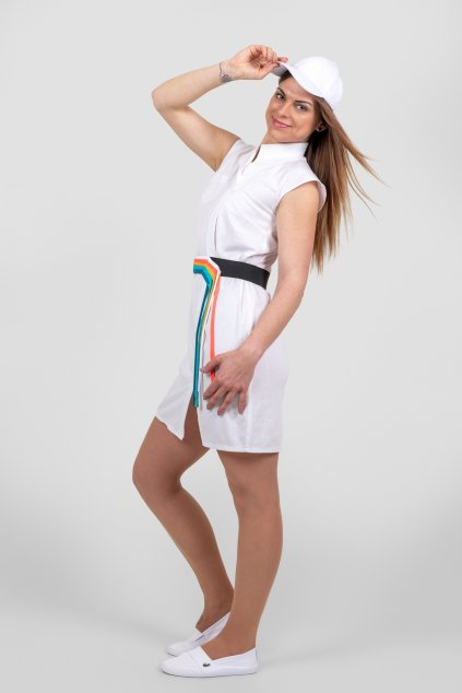 Dámské košilové šaty len bílé s barevným páskem asymetrickým límečkem Goci