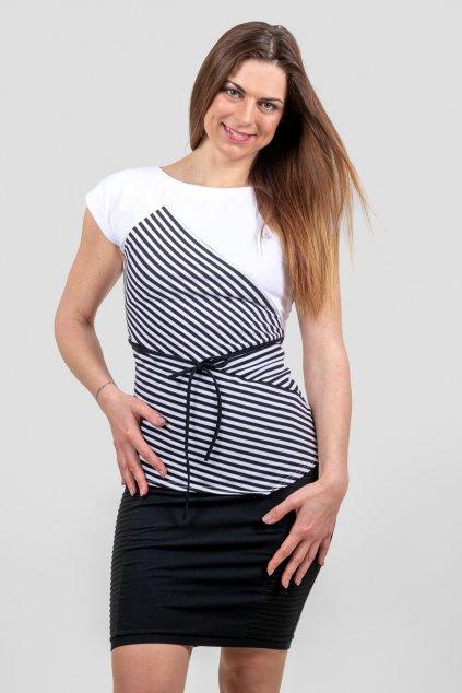 Dámské triko Lorengo bílo černé pruhované s krátký rukávem páskem z bavlny Goci