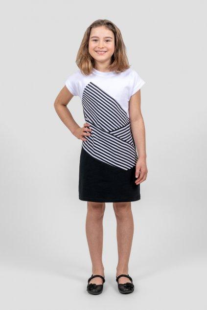 Dětské šaty lorengo černo bílé pruhované krátký rukáv Goci