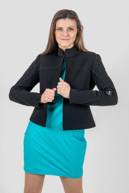 Dámská bundička Itali černá a šaty Verona tyrkysové Goci