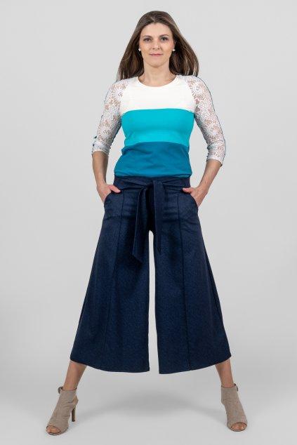 Dámská kalhotová sukně a dámské triko Jůlie modré pruhované 3/4 rukáv krajka Goci