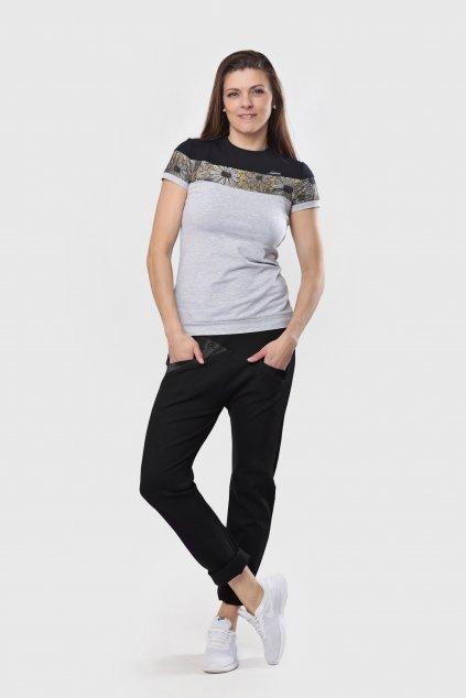 Dámské triko grey lace šedé s černou krajkou krátký rukáv z bavlny Goci