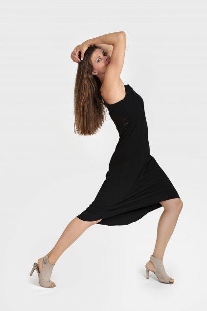 Dámské šaty Misi černé na ramínka s krajkou na zádech Goci