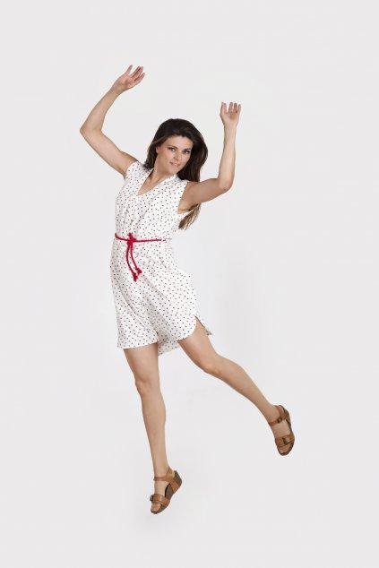 Dámské šaty swallow bílé s potiskem rozepínatelné s rozparky, vzdušné Goci