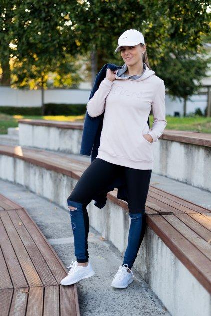 Mikina Vera dlouhý rukáv růžová s kapucí a kapsami