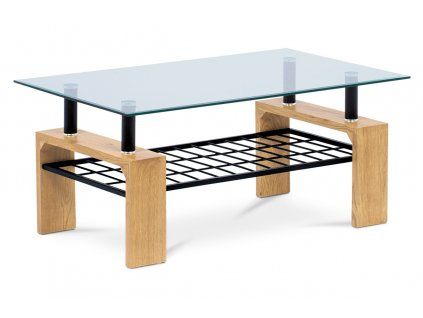 Konferenční stolek 110x60x44, čiré tvrzené sklo, MDF dekor divoký dub, kov černá